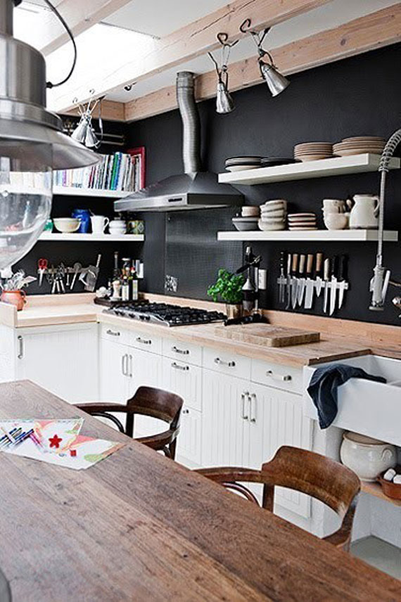 hipster kitchen design. blackwall11 Black Walls Ideas For Your Modern Interiors  47 Pictures