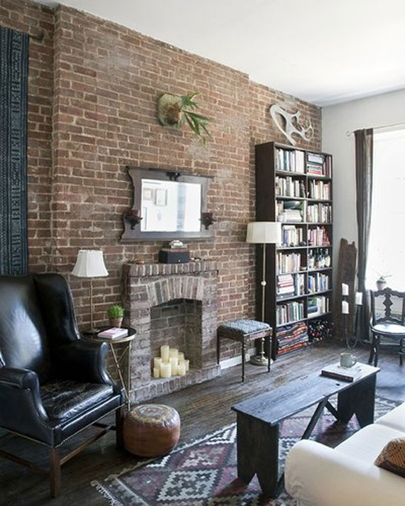 Brick And Stone Wall Ideas For A House's Interiors 23