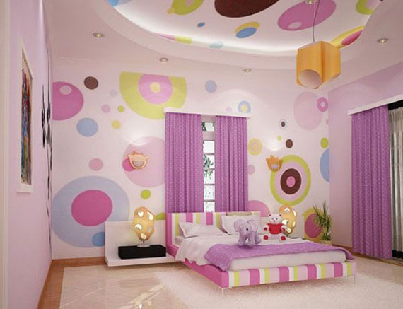 Wall Designs For Girls Room kids room decorating with purple color modern teen girls room creative wall decoration Fete31 Colorful Girls Rooms Design Decorating Ideas 44 Pictures