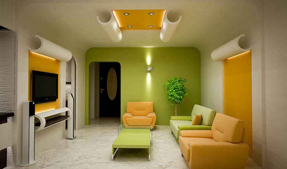 G7 Green Living Room Design Ideas: Decorations And Furniture