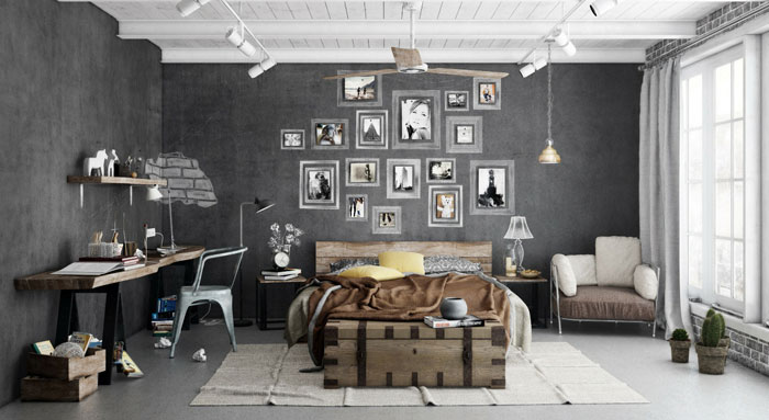 69795317185 Ideas For Designing Your Bedroom In An Industrial Style