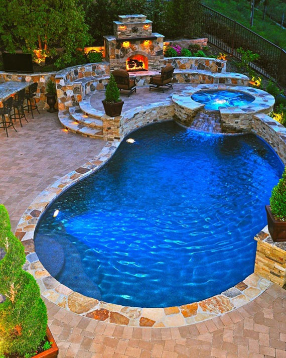 Swimming Pool Design Pdf at night the pool spa and outdoor living room shine with great brilliance thanks to the fiber optic and led lighting found all across the landscape Pool16 Outdoor Pool Designs That You Would Wish They Were Around Your House