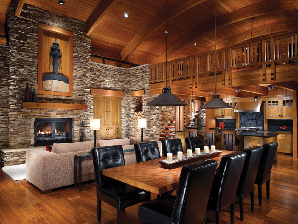 Log cabin interior design 47 cabin decor ideas for Lodge plans with 8 bedrooms