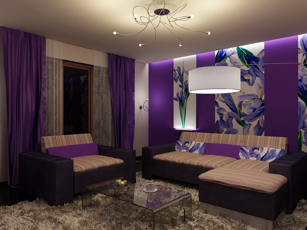 the usage of purple in interior design 14 best - Purple Living Room