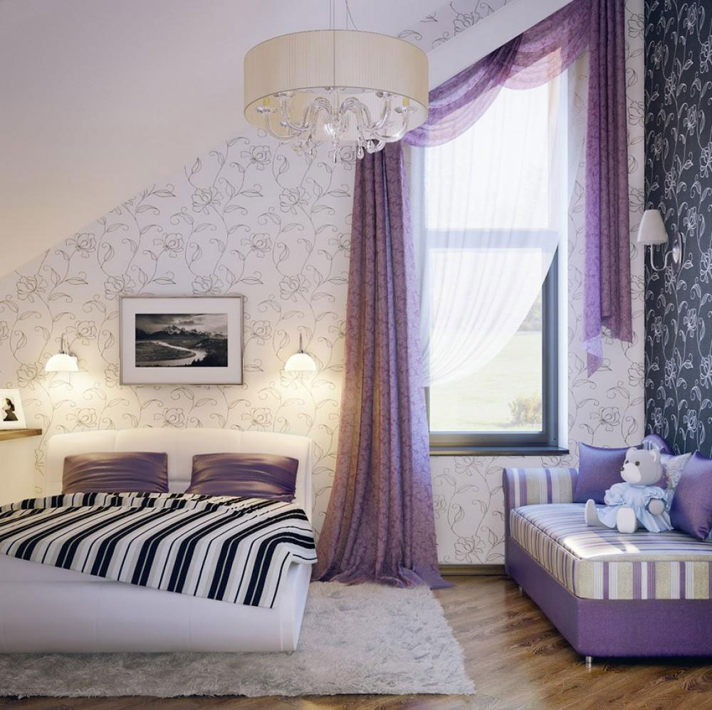 Black and white and purple bedrooms - The Usage Of Purple In Interior Design 2