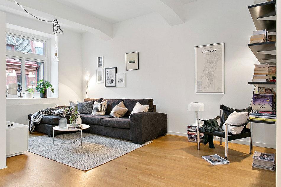 Lovely scandinavian living room design lovely white home for 200 sq ft living room design
