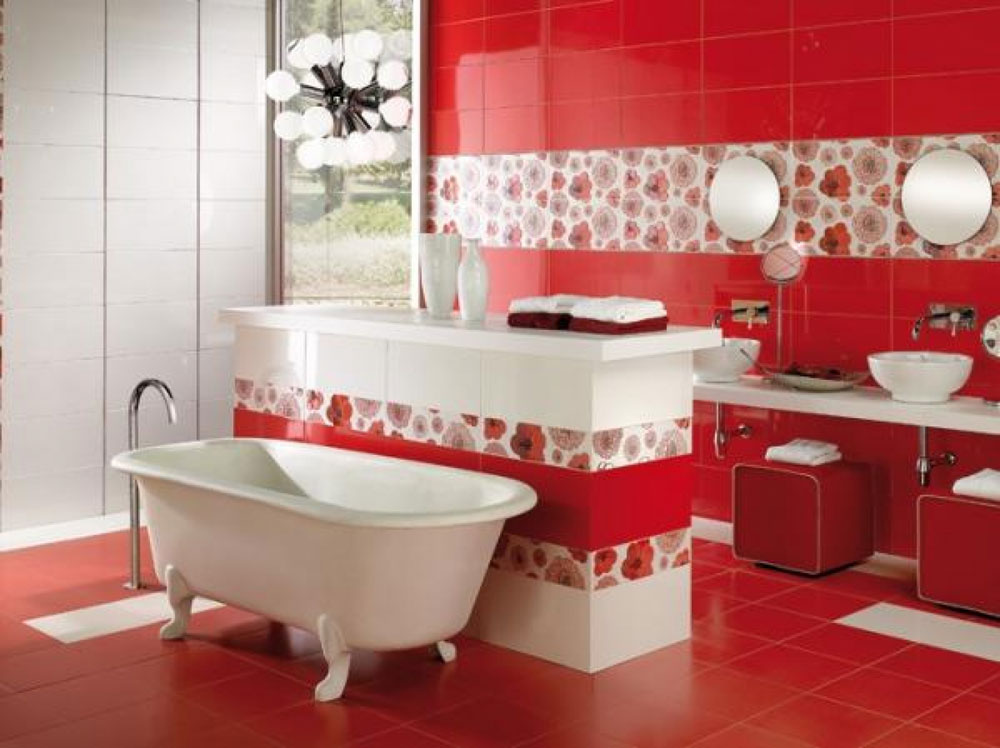 Add Warmth To Your House With Ideas From These Red Bathroom Interiors (11)