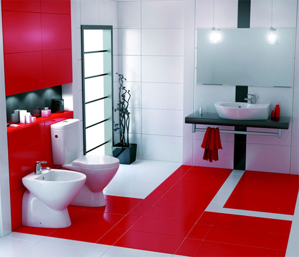 Add Warmth To Your House With Ideas From These Red Bathroom Interiors (12)