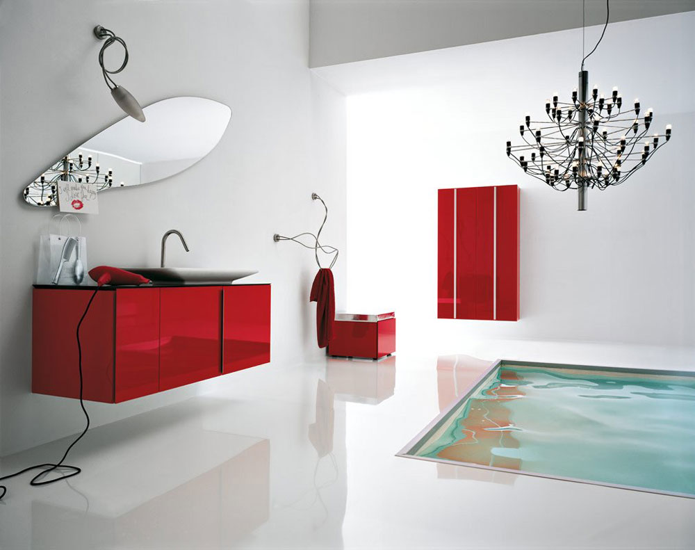 Add Warmth To Your House With Ideas From These Red Bathroom Interiors (13)