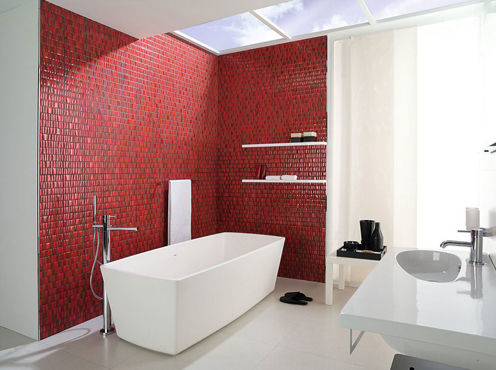 Add Warmth To Your House With Ideas From These Red Bathroom Interiors (4)