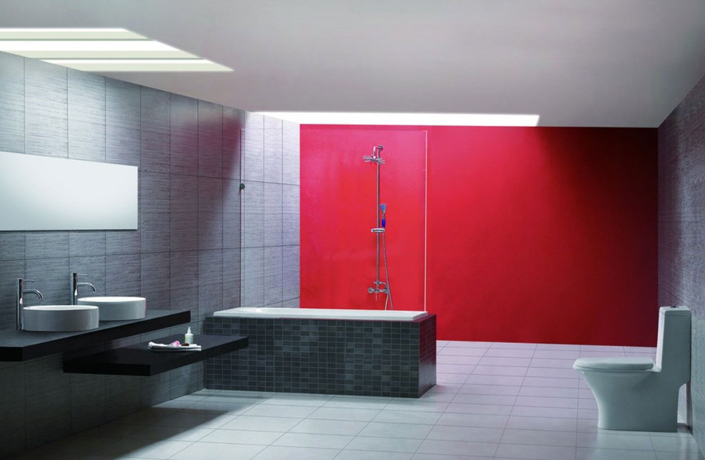 Add Warmth To Your House With Ideas From These Red Bathroom Interiors (5)