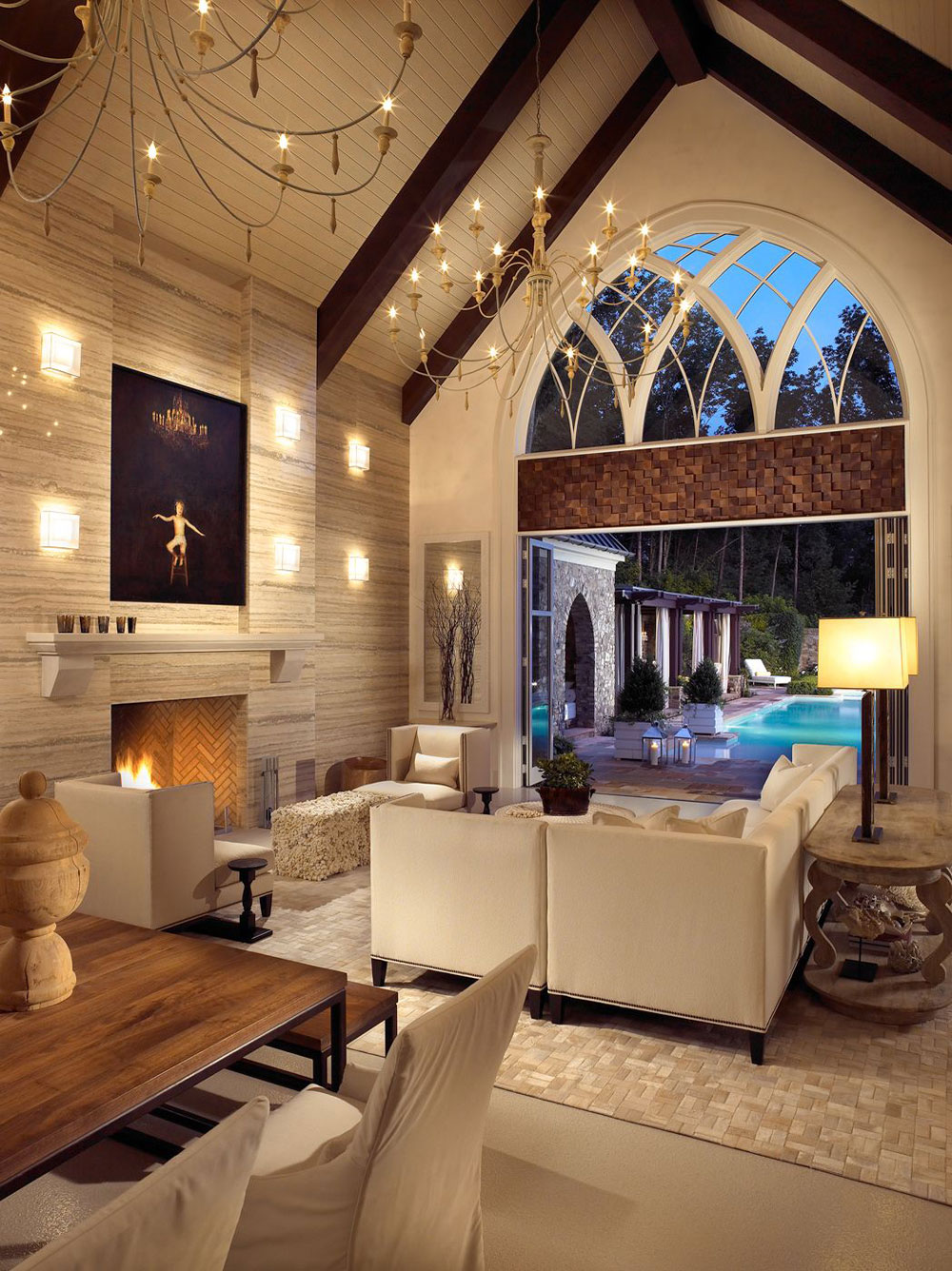 Vaulted Ceiling Living Room Design Ideas 1