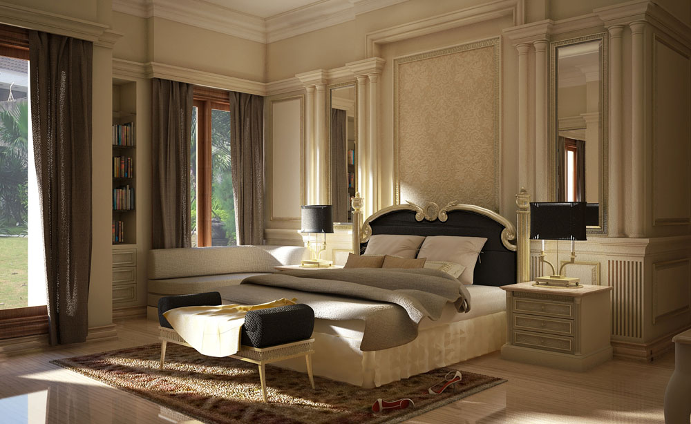 wall classic wall decoration luxury classic bedroom wall units for european bedroom decor with pair of bedside 2 drawer desk luxury classic bed - European Bedroom Design
