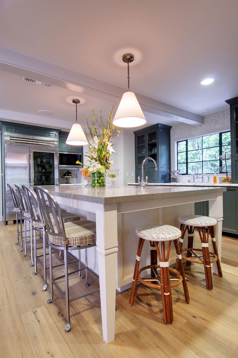 ^ Modern Kitchen Island Designs With Seating