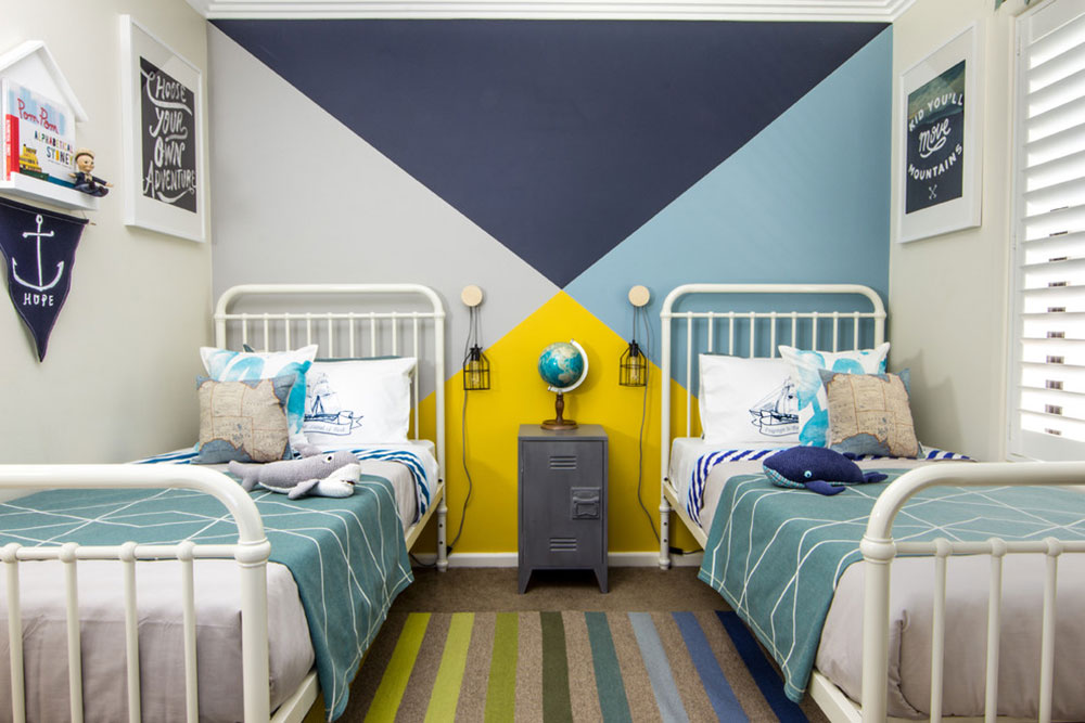 Kids Bedroom Bunting Interior Design - Cool and cozy boys room paint ideas