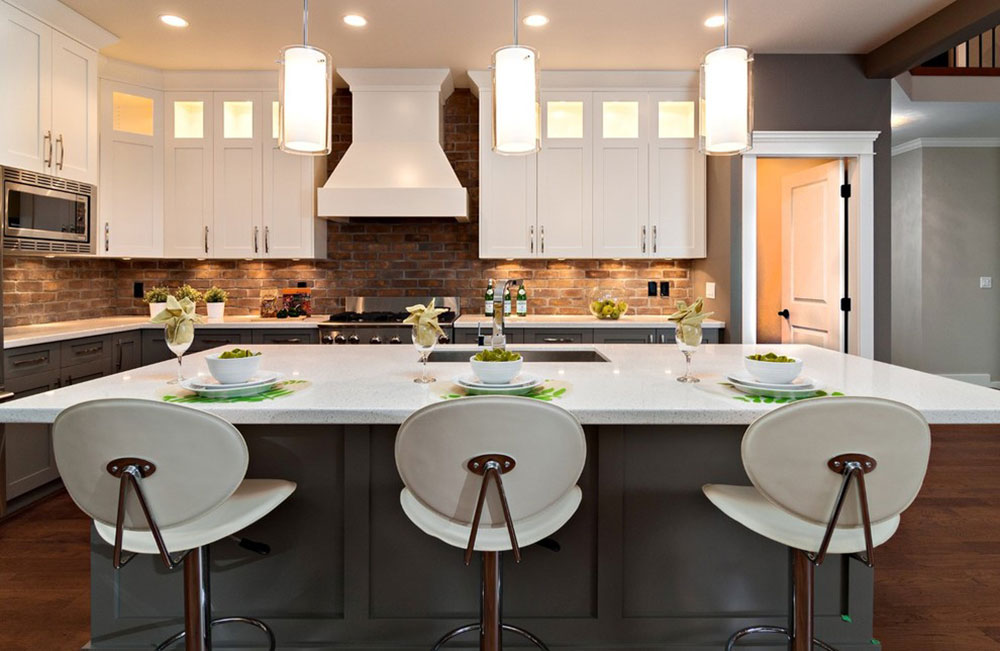Contemporary Kitchen Backsplash modern brick backsplash kitchen ideas