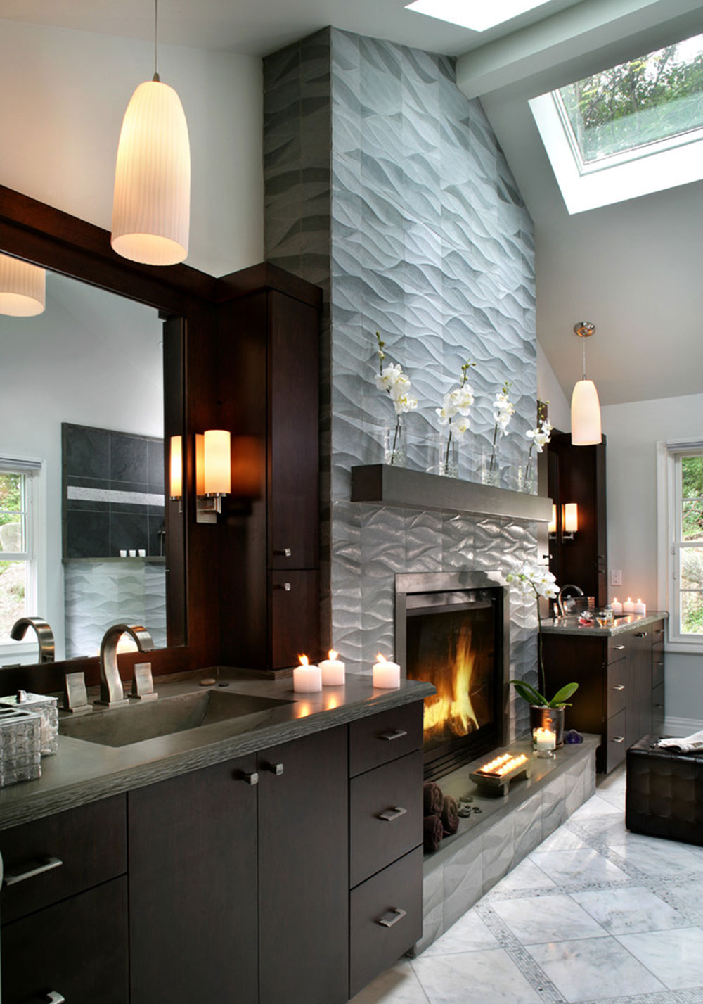 Fireplace Tile Ideas Part - 32: Contemporary-Fireplace-Surround-For-Warm-Homes14 Modern Fireplace Tile Ideas