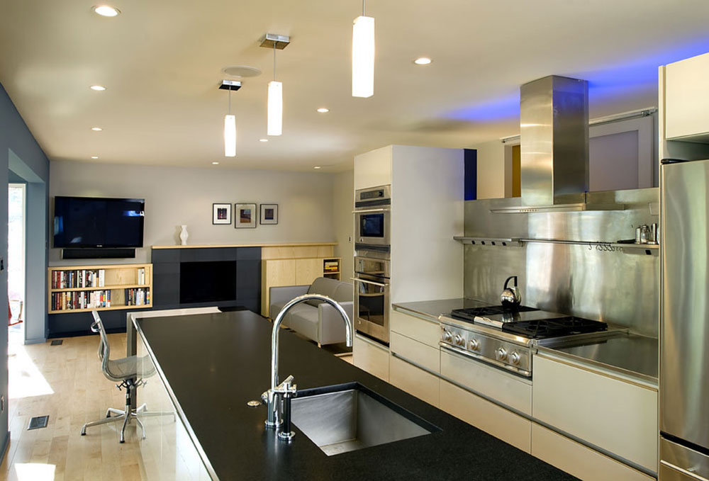 Large Kitchens Design Ideas stainless steel backsplash - advantages, tips and ideas