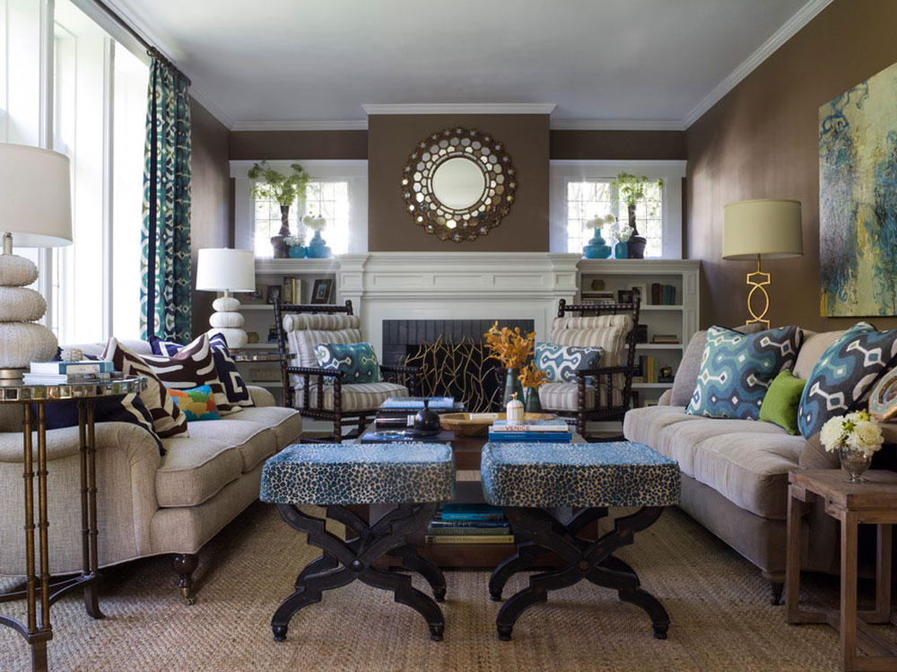 The Attractive Brown Complementary Color For Your New Home. Brown Green And Blue  Living Room