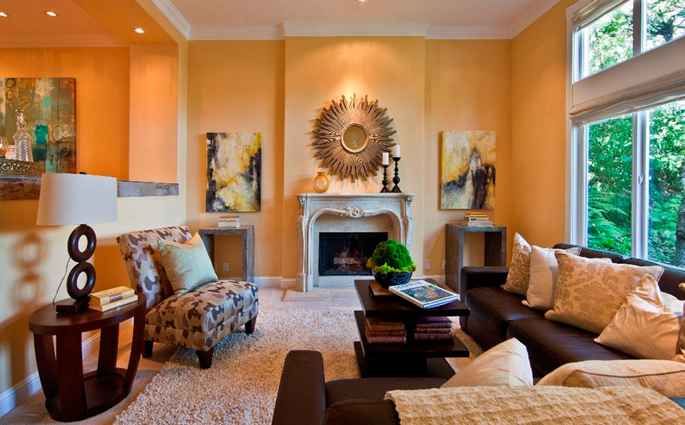 Living Room Wall Color Samples examples of what color goes with orange (22 house interiors)