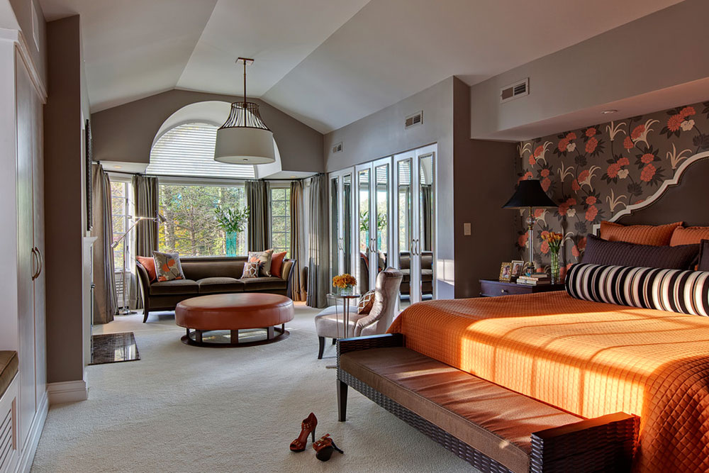 Big House Inside Bedroom examples of what color goes with orange (22 house interiors)