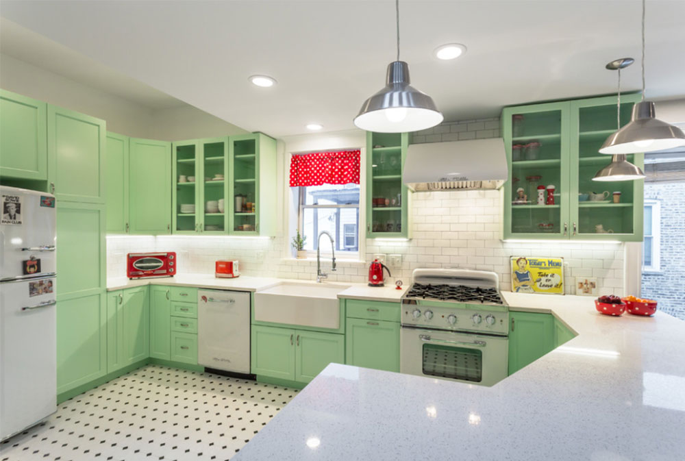 retro kitchen: tips, design, ideas