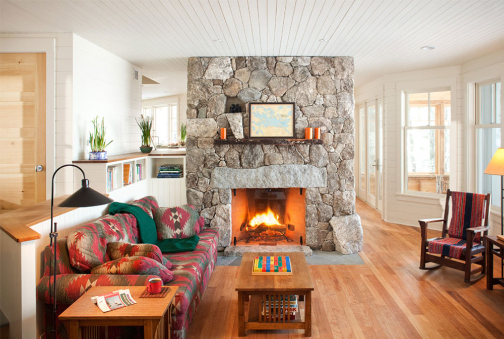 Living Room And Fireplace By Whitten Architects Rustic Fireplaces