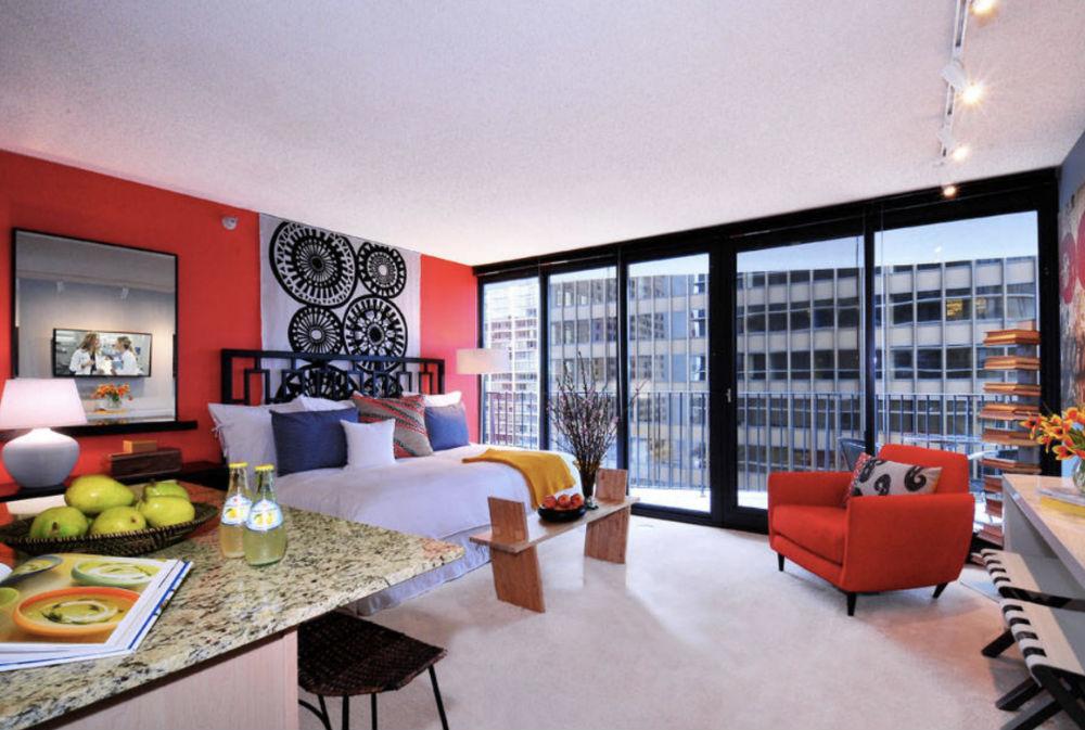 Aqua-Studio-Apartment-by-Mary-Cook Studio Apartment Decor Ideas & Studio Apartment: Decor Ideas and What It Is
