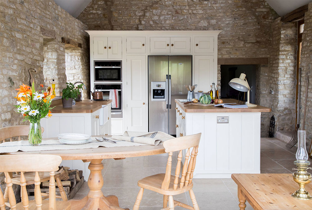 A-Traditional-Country-Kitchen-by-Sustainable-Kitchens Wood Countertops: Solid, Rustic, Natural Kitchen Counters