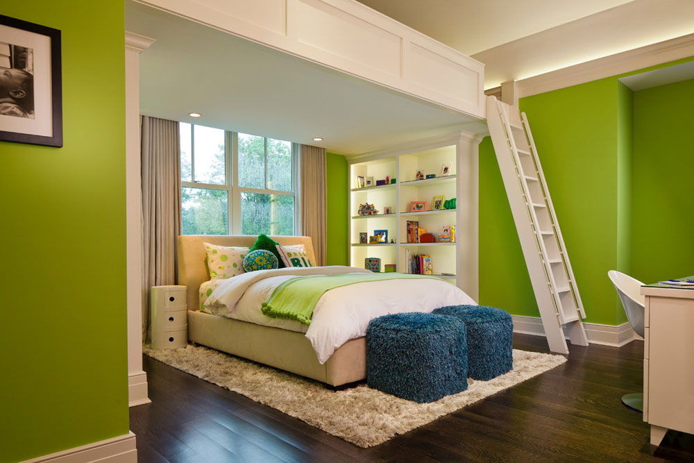 Crescent-Home-by-H.-Gary-Frank-Architects Green Bedroom