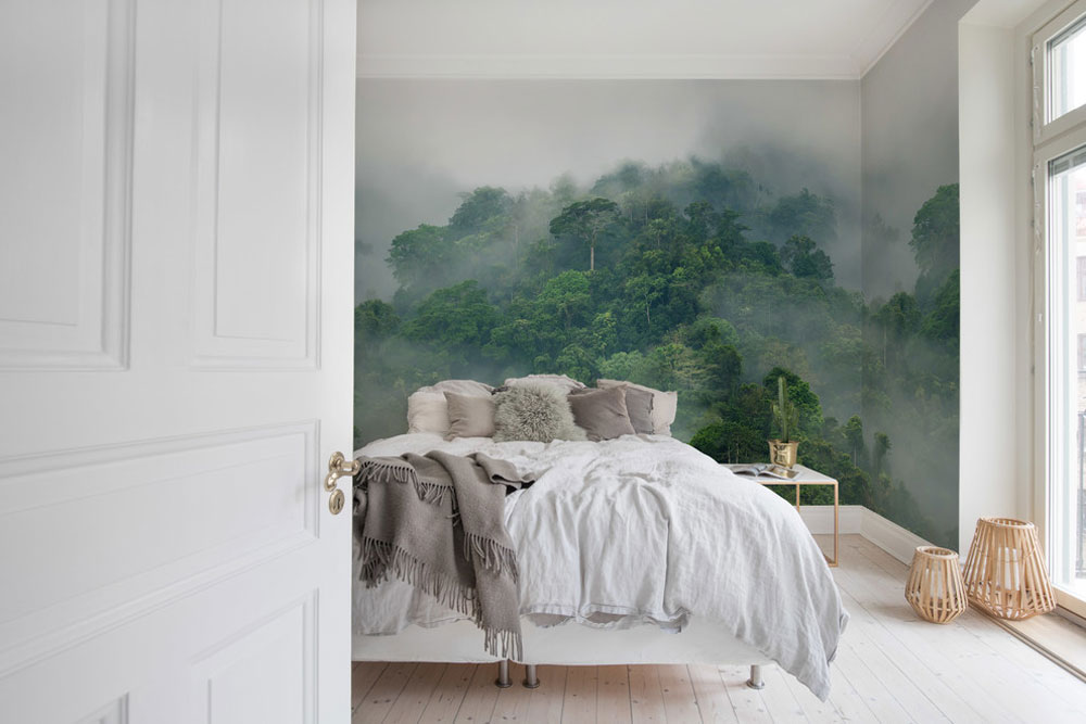 Misty-Forest-by-Rebel-Walls- Green Bedroom Ideas: Design, Decoration, And Accessories