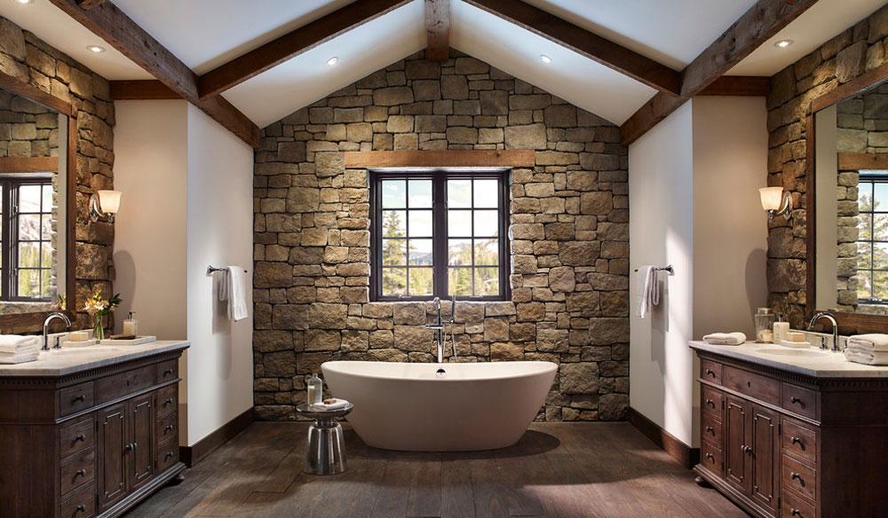 Rustic Stone Wall Bathroom By Eldorado Stone Rustic Bathroom Design