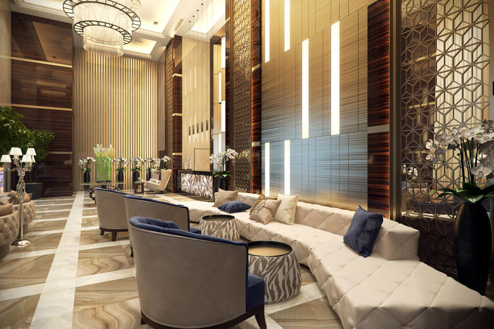 Modern hotel lobby design ideas with fancy furniture
