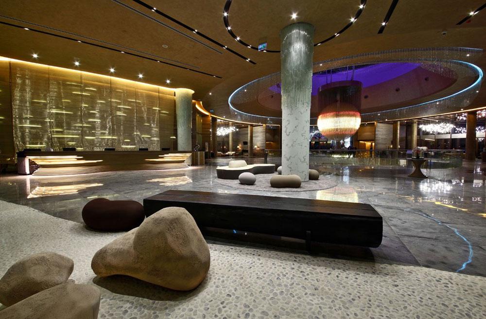 Modern hotel lobby design ideas with fancy furniture