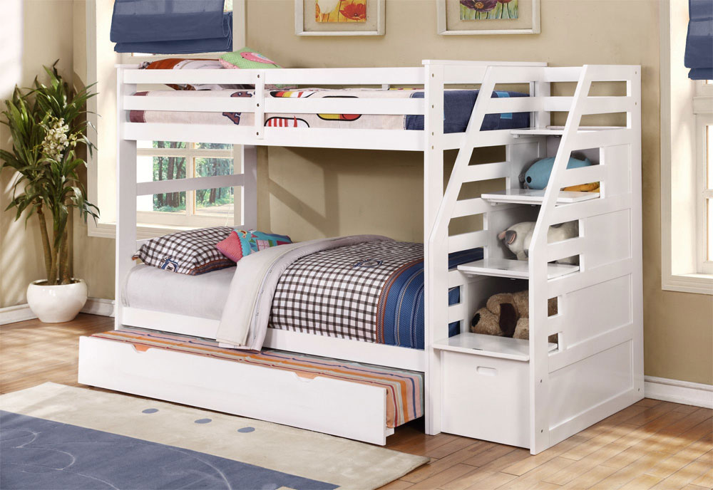 White Bunk Bed With Built In Stairs And