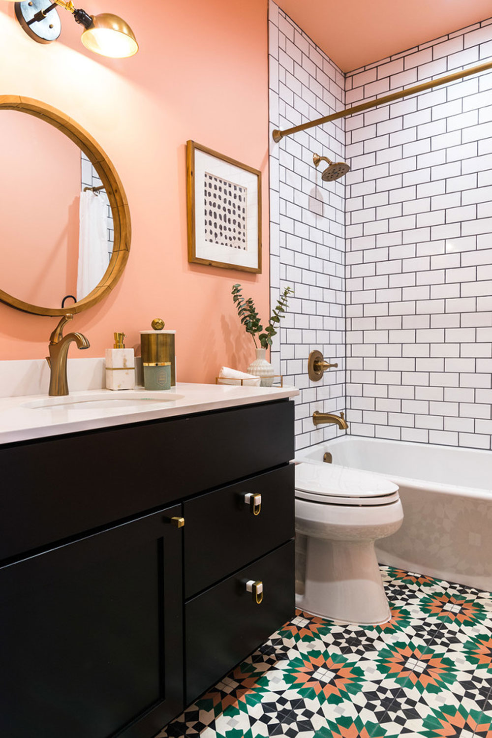Peach Color To Decorate Amazing Interiors, What Color Goes With Peach Bathroom
