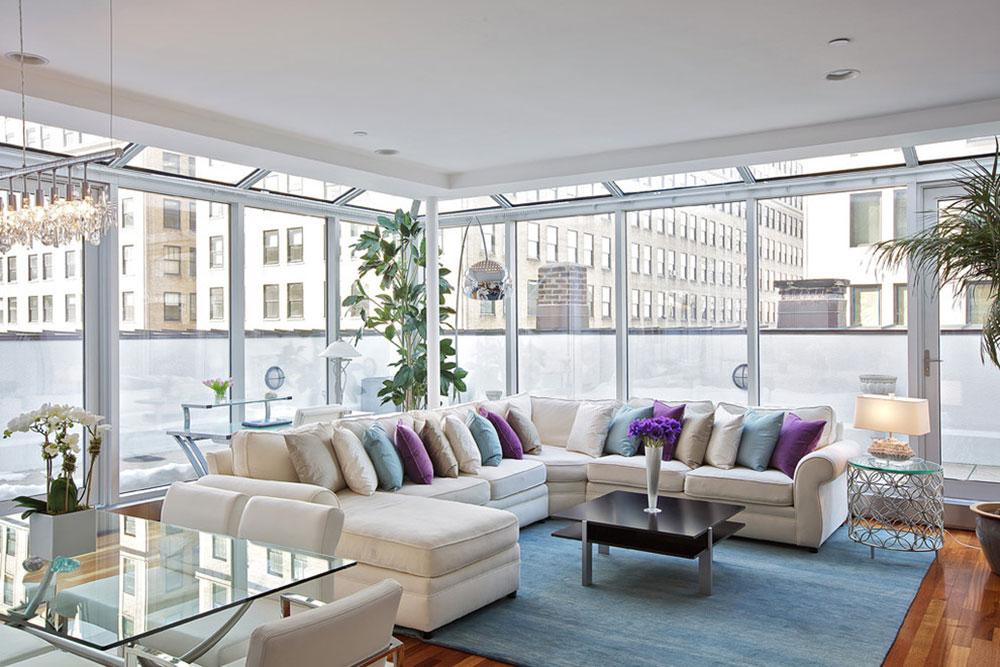 Tribeca-Penthouse-Living-Room-by-Marie-Burgos-Design Cách đặt một tấm thảm trong phòng khách để nơi này trông thật tuyệt